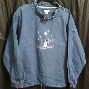 Christopher & Banks cotton pullover jean  shirt L